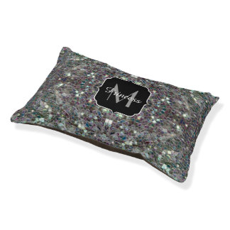 Sparkly colourful silver mosaic Monogram Pet Bed