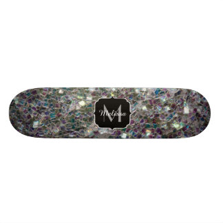 Sparkly colourful silver mosaic Monogram Skate Board Decks