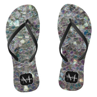 Sparkly colourful silver mosaic Monogram Thongs