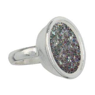 Sparkly colourful silver mosaic ring