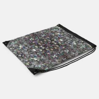Sparkly colourful silver mosaic v4 - Mandala Drawstring Bag