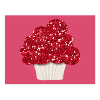 Sparkly cupcake postcard