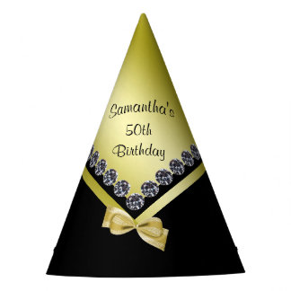 Sparkly Diamonds & Gold Bow 50th Birthday Party Hat