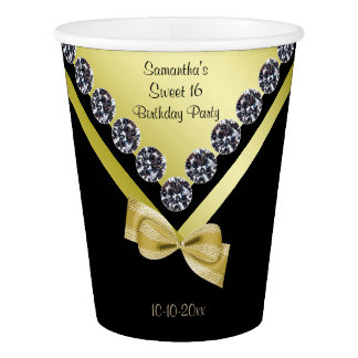 Sparkly Diamonds & Gold Bow Sweet 16 Paper Cup