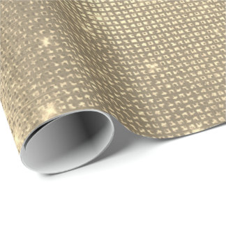 Sparkly Faux Foxier Sepia Gold Sequin Metallic Min Wrapping Paper