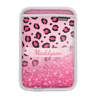 Sparkly Faux Glitter Leopard Print For Teen Girls iPad Mini Sleeve