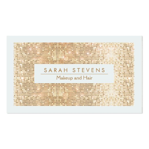 Sparkly FAUX Gold Sequins Makeup and Hair Business Card