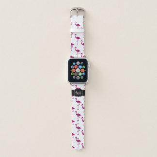 Sparkly flamingo Pink glitter sparkles Monogram Apple Watch Band