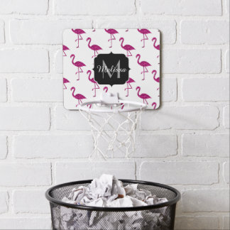 Sparkly flamingo Pink glitter sparkles Monogram Mini Basketball Hoop