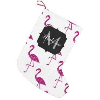 Sparkly flamingo Pink glitter sparkles Monogram Small Christmas Stocking
