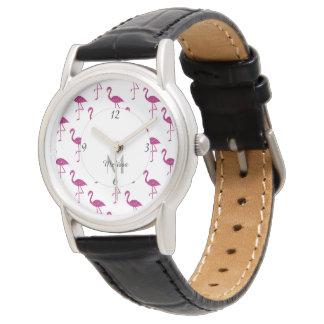 Sparkly flamingo Pink glitter sparkles Monogram Watch
