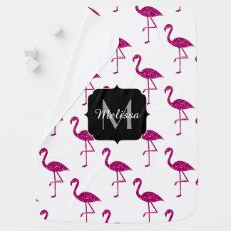 Sparkly flamingo Pink sparkles pattern Monogram Baby Blanket