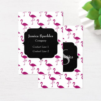 Sparkly flamingo Pink sparkles pattern Monogram Business Card