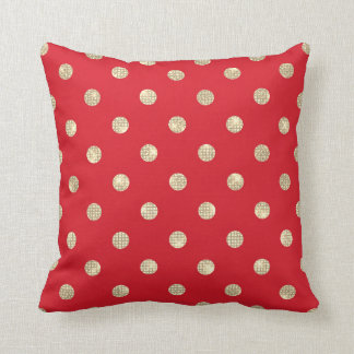 Sparkly Foxier Gold Vivid Bright Red Dots Cushion