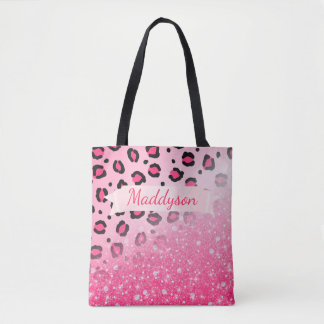 Sparkly Glitter Leopard Print For Teen Girls Tote Bag