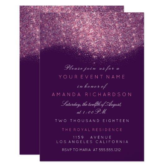 Sparkly Glitter Pink Rose Purple Violet Elegant Card