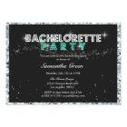 Sparkly Glitter Teal Bachelorette Party Invitation