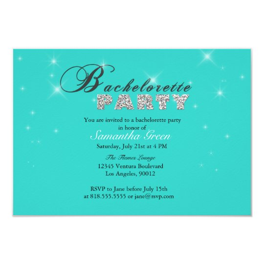 Sparkly Glitter Teal Bachelorette Party Invitation