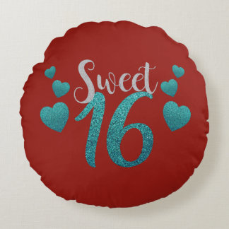Sparkly Glittery Teal and Red Sweet Sixteen Round Cushion