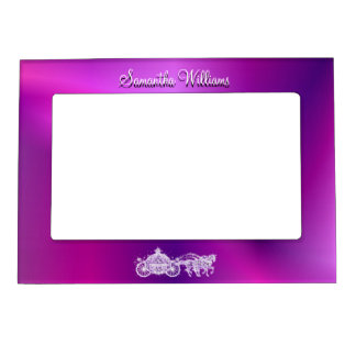 Sparkly Glitzy Purple Princess Coach & Horses Magnetic Frame
