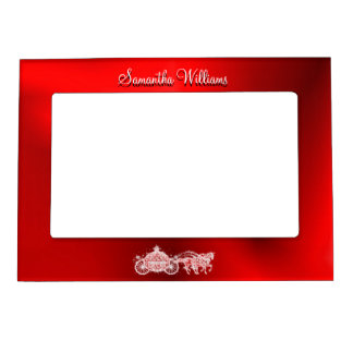 Sparkly Glitzy Red Princess Coach & Horses Magnetic Frame