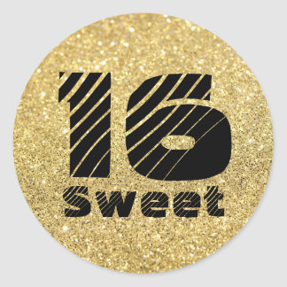 Sparkly Gold and Bold Sweet 16 Birthday Sticker
