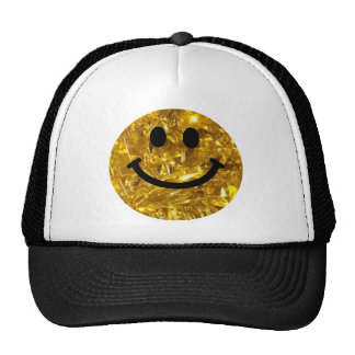 Sparkly Gold Bling Smiley Trucker Hats