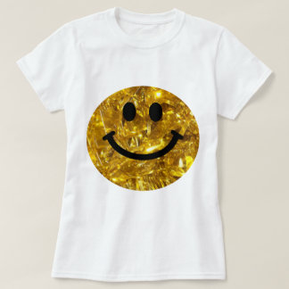 Sparkly Gold Bling Smiley T-Shirt