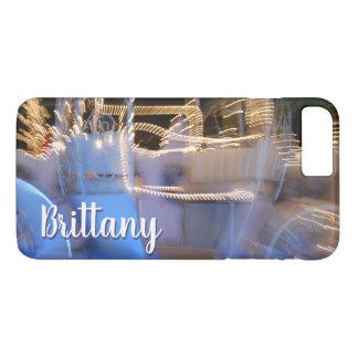 Sparkly gold blue princess coach photo custom name iPhone 8 plus/7 plus case