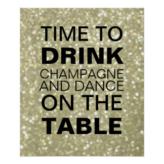 Sparkly Gold Champagne Party Poster