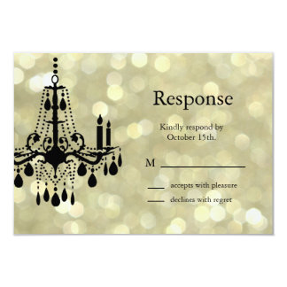 Sparkly Gold Chandelier RSVP 9 Cm X 13 Cm Invitation Card