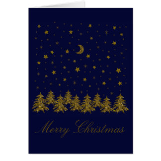 Sparkly gold Christmas tree, moon, stars on blue Card