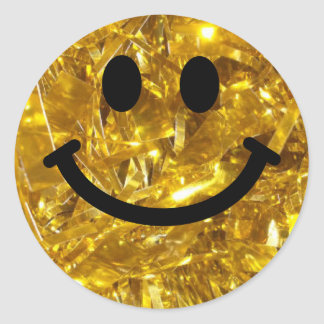Sparkly Gold faux Bling Smiley Round Sticker