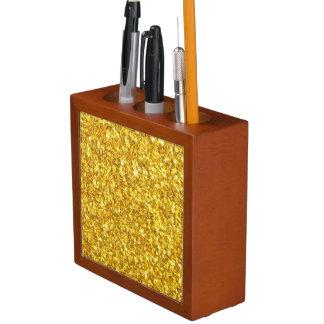 Sparkly Gold Glitter Pattern Desk Organiser