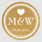 Sparkly gold monogram wedding favour stickers