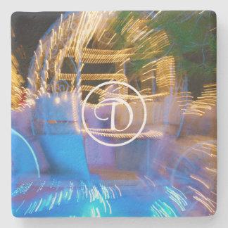 Sparkly gold princess coach photo custom monogram stone coaster
