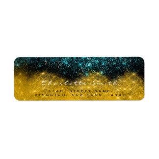 Sparkly Gold Sepia Confetti Black Teal RSVP Return Address Label