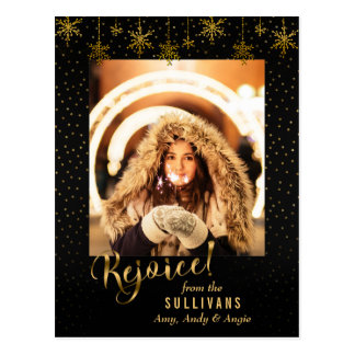 Sparkly Gold Snowflake Rejoice Photo Card