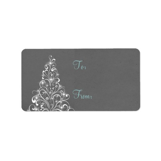 Sparkly Holiday Tree Gift Tags, Grey Address Label