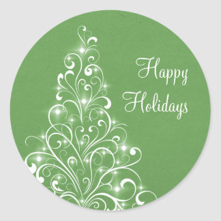 Sparkly Holiday Tree Stickers, Green Round Sticker