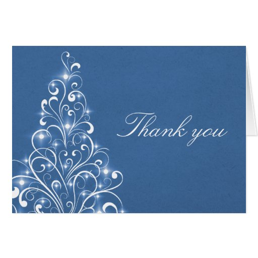 Sparkly Holiday Tree Thank You Card, Blue