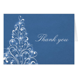 Sparkly Holiday Tree Thank You Card, Blue Card