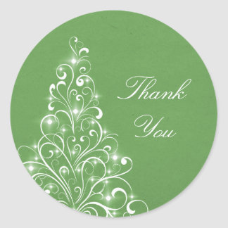 Sparkly Holiday Tree Thank You Stickers, Green