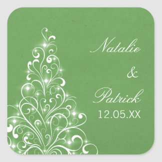 Sparkly Holiday Tree Wedding Stickers, Green