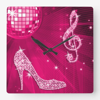 Sparkly Hot Pink Music Note Stiletto Heel Square Wall Clock