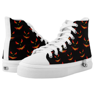 Sparkly Jack O'Lantern face Halloween pattern High Tops