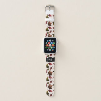 Sparkly leaves fall autumn pattern Monogram Apple Watch Band