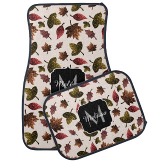 Sparkly leaves fall autumn pattern Monogram Car Mat