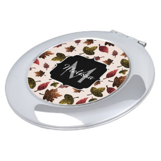 Sparkly leaves fall autumn pattern Monogram Compact Mirror