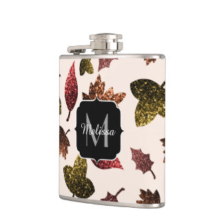 Sparkly leaves fall autumn pattern Monogram Hip Flask